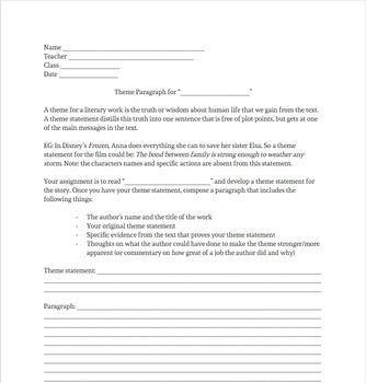 Theme Statement Paragraph Worksheet