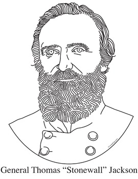 """General """"Stonewall"""" Jackson Realistic Clip Art, Coloring Page, and Poster"""