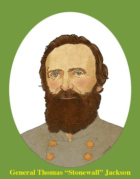 "General ""Stonewall"" Jackson Realistic Clip Art, Coloring P"