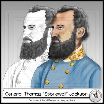 "Civil War General Thomas ""Stonewall"" Jackson Realistic Clip Art Portrait"