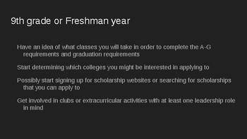 General Timeline for High School Students