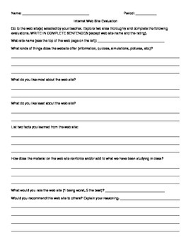 General Web Site Review Worksheet by Education Creations by