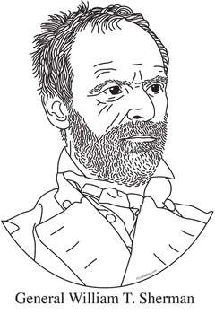 General William T. Sherman Realistic Clip Art, Coloring Page, and Poster