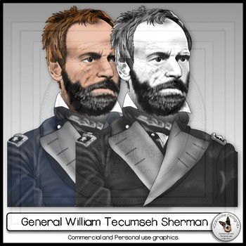 Civil War General William Tecumseh Sherman Realistic Clip Art Portrait
