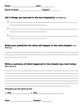General Worksheet for Before, during, after reading