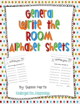 General Write the Room Sheets