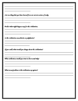 General civilization questions worksheet