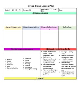 General music lesson rubric