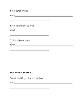 General sentence starters for EL students