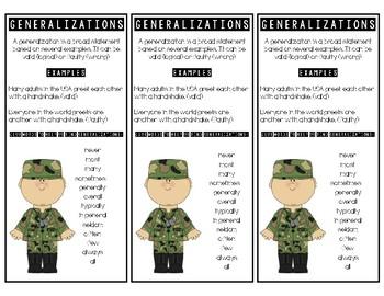 Generalization Bookmarks - Reading Comprehension Skill - Common Core Aligned
