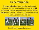 Generalization Poster - Intermediate Elementary School Grades
