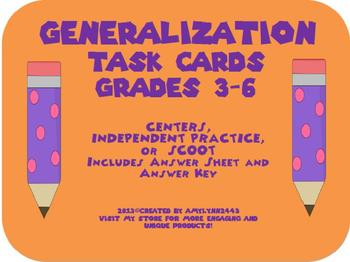 Generalization Task Cards- 24 Multiple Choice Cards- Scoot