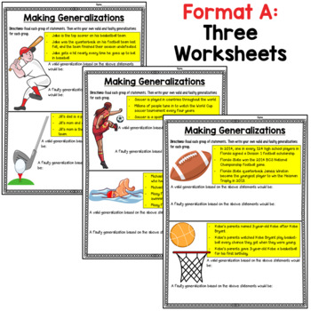 Generalization Worksheets:  Writing Valid and Faulty Generalizations (sports!)