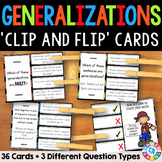 Generalizations Activity: 36 Generalizations Task Cards (Clip and Flip)