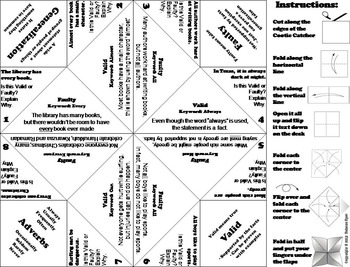 Generalizations Activity/ Foldable 6th 5th 4th 3rd Grade Reading Comprehension