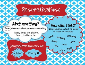 Generalizations Anchor Chart