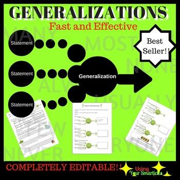 Generalizations A Reading Strategy Worksheet