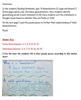 Generalizations Interactive Reading Notebook Page