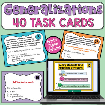 Generalizations Task Cards