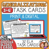 Generalizations Task Cards: 32 cards for identifying generalizations