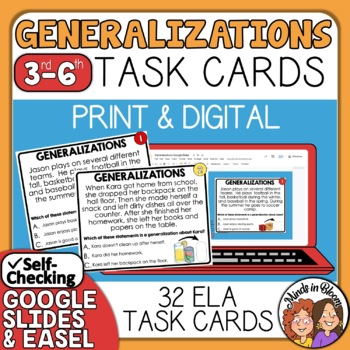 Generalizations Task Cards for Identifying Generalizations with Digital Option