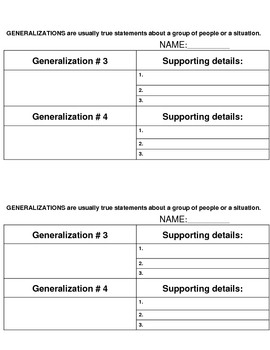 Generalizations and supporting details