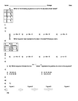 Linear Relationships Exam or Review