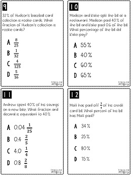 Generate Equivalent Fractions Decimals & Percents TEKS 6.4G