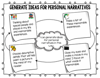 Generate Ideas for Personal Narrative Teacher Chart