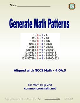 generate math patterns 4 oa 5 by common sense math tpt rh teacherspayteachers com