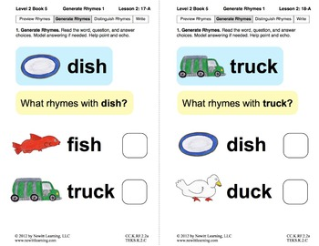 Generate Rhymes 1: Lesson 2, Book 5 (Newitt Prereading Series)