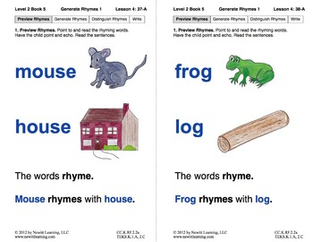 Generate Rhymes 1: Lesson 4, Book 5 (Newitt Prereading Series)