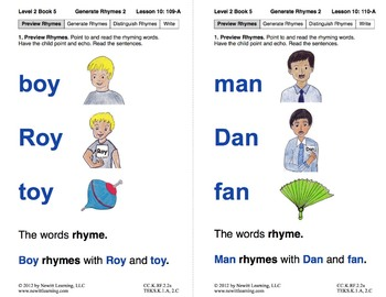 Generate Rhymes 2: Lesson 10, Book 5 (Newitt Prereading Series)