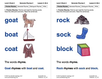 Generate Rhymes 2: Lesson 8, Book 5 (Newitt Prereading Series)