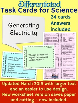 Generating Electricity task cards