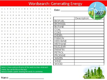 Generating Energy Wordsearch Puzzle Sheet Keywords Science Physics