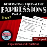 Generating Equivalent Expressions Part 2 Worksheet