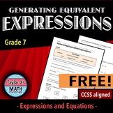 Generating Equivalent Expressions Worksheet