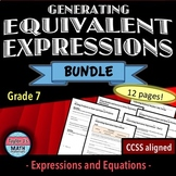 Generating Equivalent Expressions Worksheet Bundle