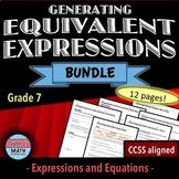 Generating Equivalent Expressions Worksheet Bundle