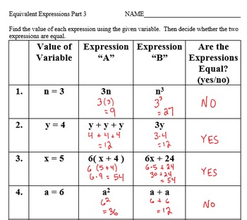 Generating Equivalent Expressions by Applying Properties of Operations