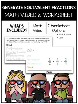 Generating Equivalent Fractions Math Video and Worksheet