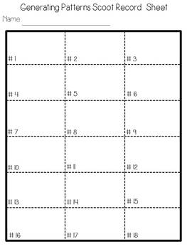"""Generating Patterns """"Scoot"""" Task Cards -Common Core Aligned"""
