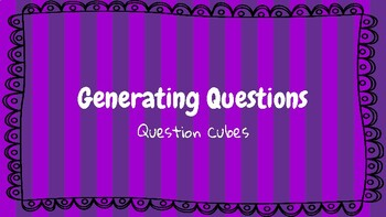 Generating Questions Question Cube and Recording Sheet (Independent or Center)