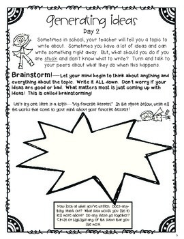 Generating Writing Ideas Mini-Lessons (Based on Six Traits)