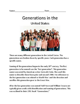 Generations - United States Names History Lesson questions word search