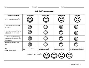Generic Art Rubric and Self Assessment for Kids