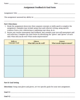 Student Reflection Organizer for Feedback & Goal Setting