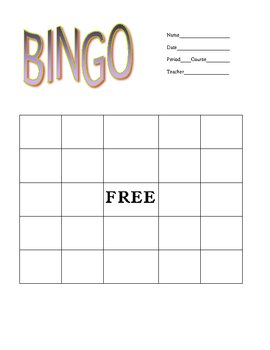 Generic Bingo Sheet for Vocabulary Games and Review Activities