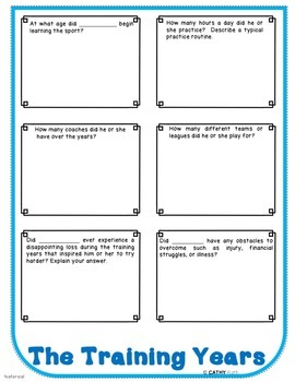 Generic Blank Biography Research Flip Book For Any Athlete, Activities